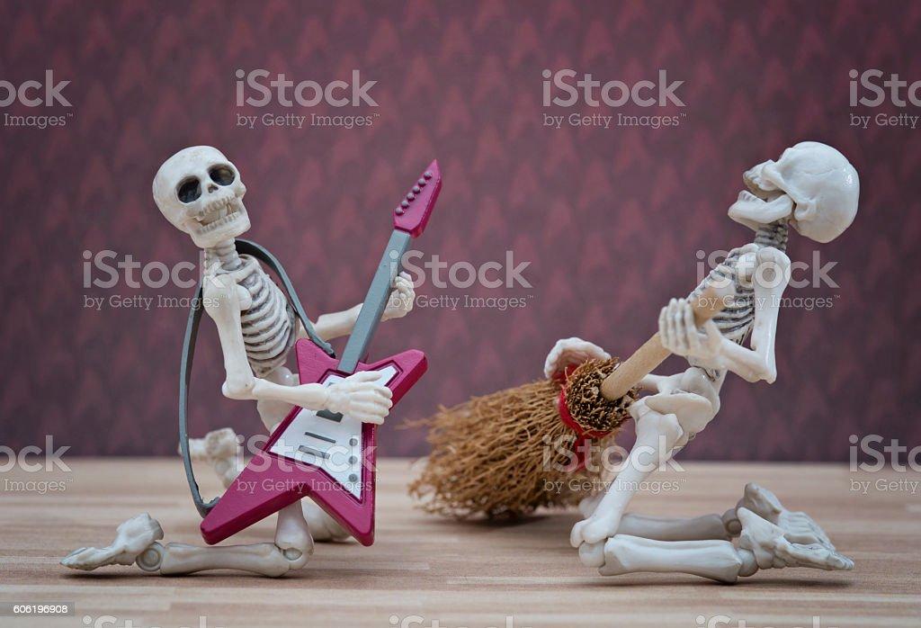 The skeleton rock band stock photo