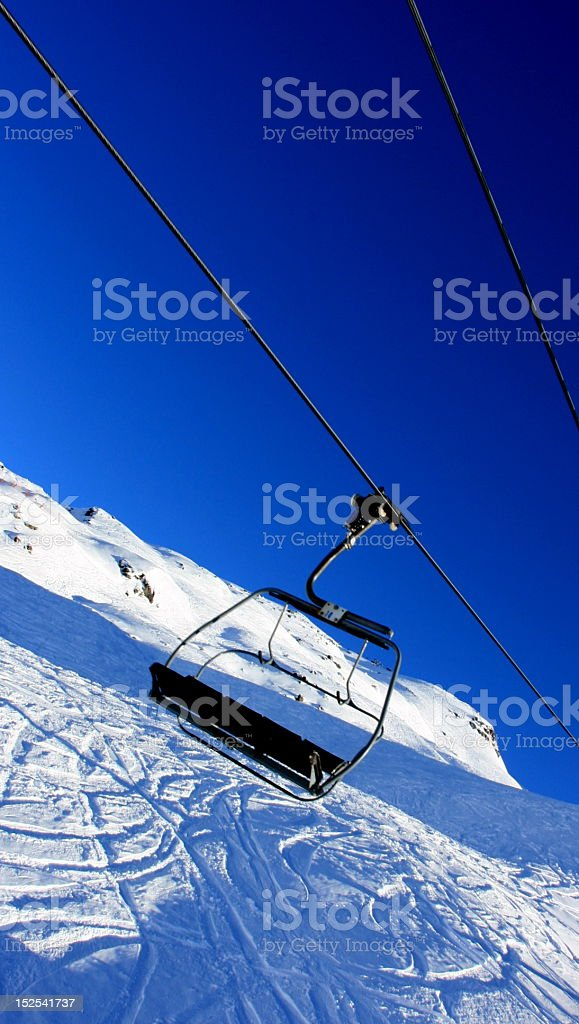 The ski lift in French Alps royalty-free stock photo