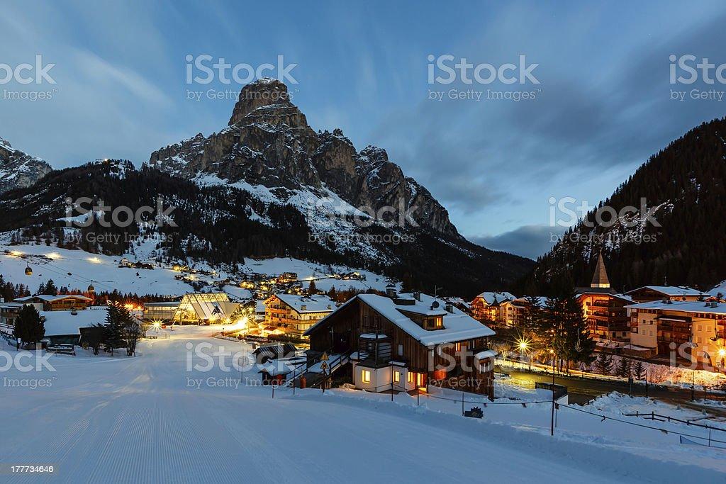 The ski resort of Corvara, Alta Badia in the Dolomites Alps stock photo