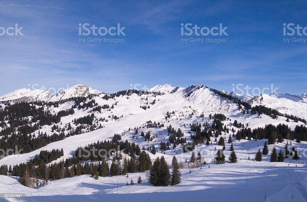 The ski resort of Morzine, France stock photo