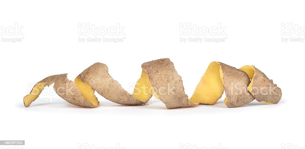 the skin is from spiral potatoes stock photo