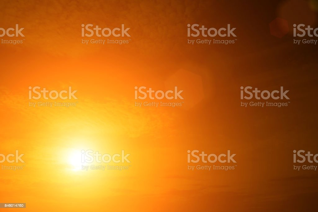 The sky Evening sunlight hot zone for background in design and abstract. stock photo