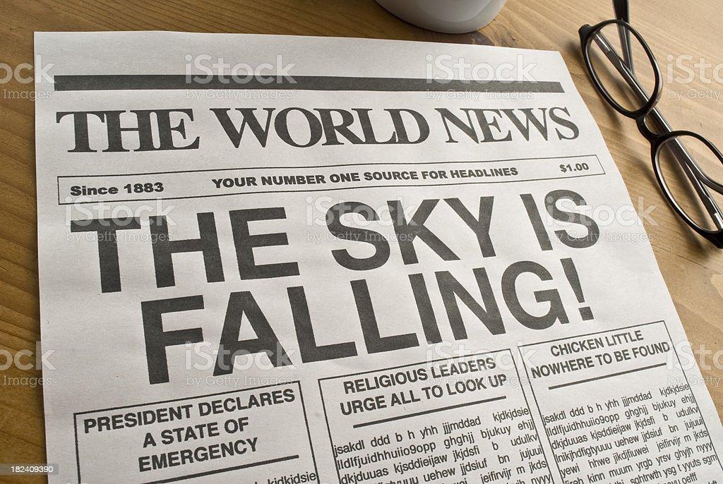 The Sky is Falling Newspaper headline stock photo