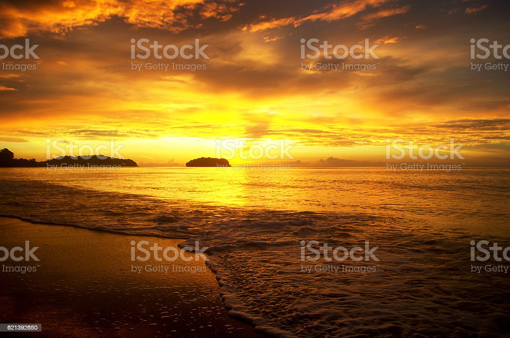 the sky is on fire stock photo
