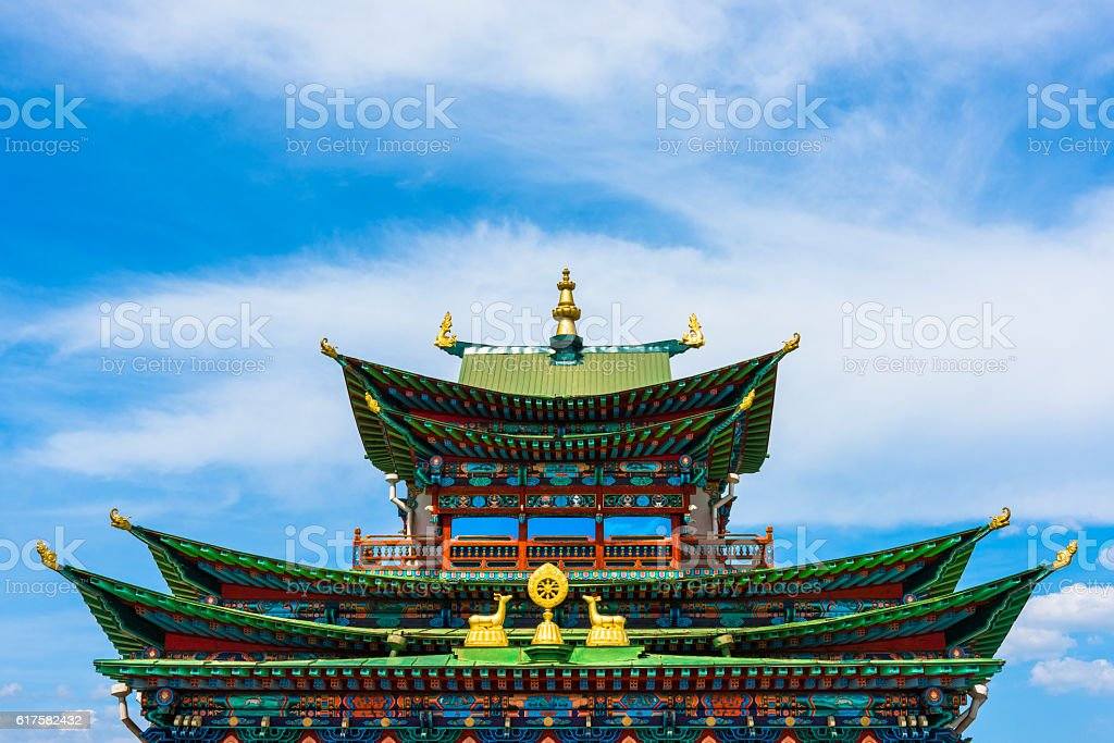 The sky over a Buddhist temple stock photo