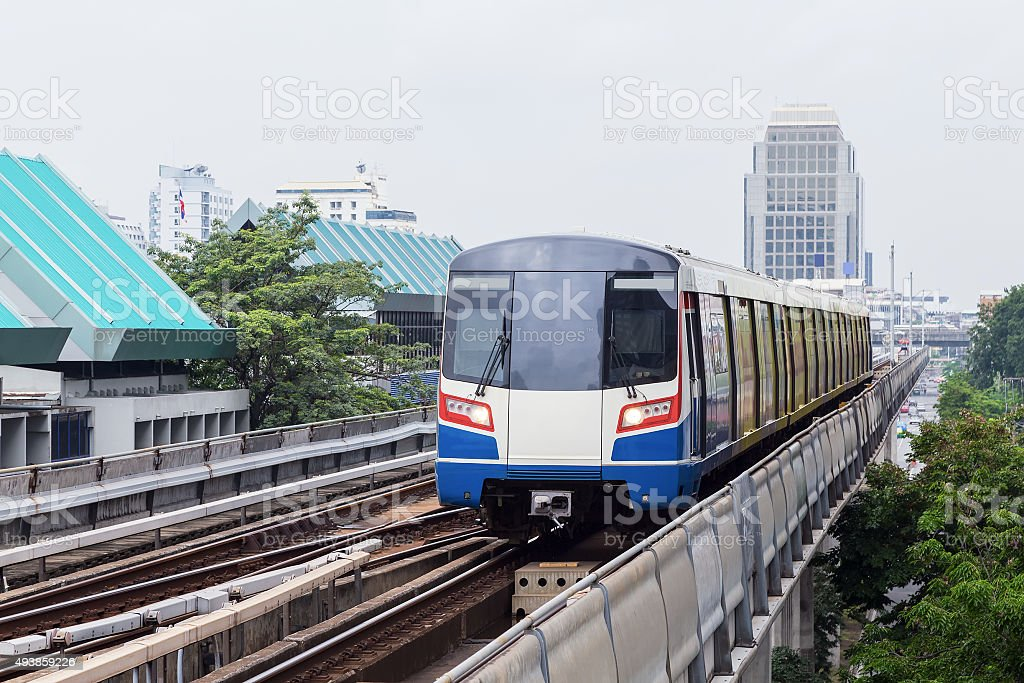The Sky train in Bangkok with building stock photo
