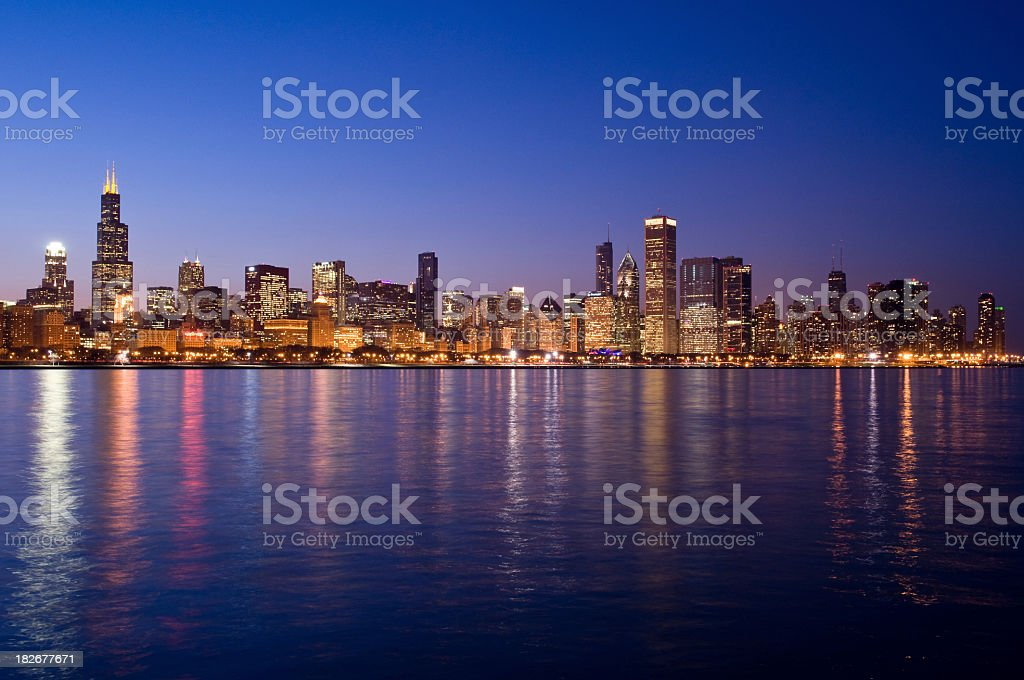 The skyline at night in Chicago  stock photo
