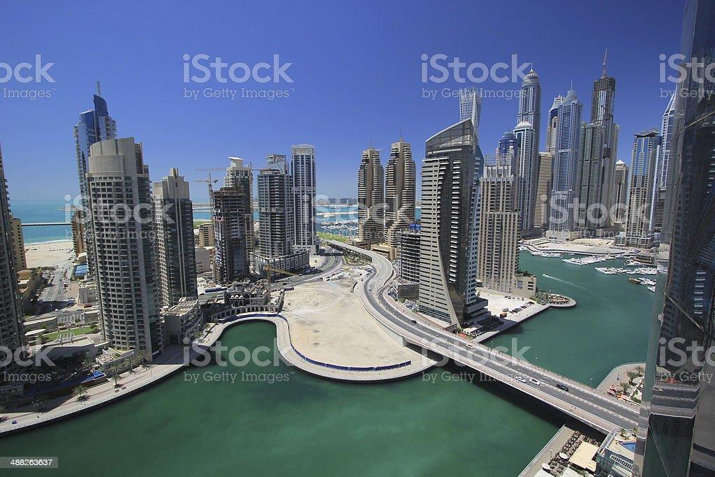 the skyline of Dubai, UAE stock photo