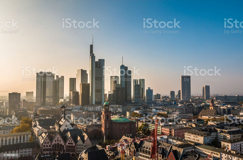 The skyline of Franckfurt stock photo