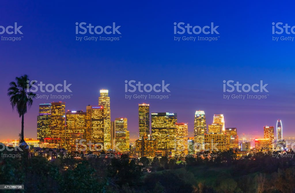 The skyline of Los Angeles at night stock photo