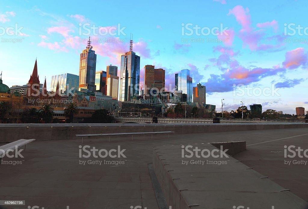 The skyline of Melbourne and  Princess Bridge royalty-free stock photo