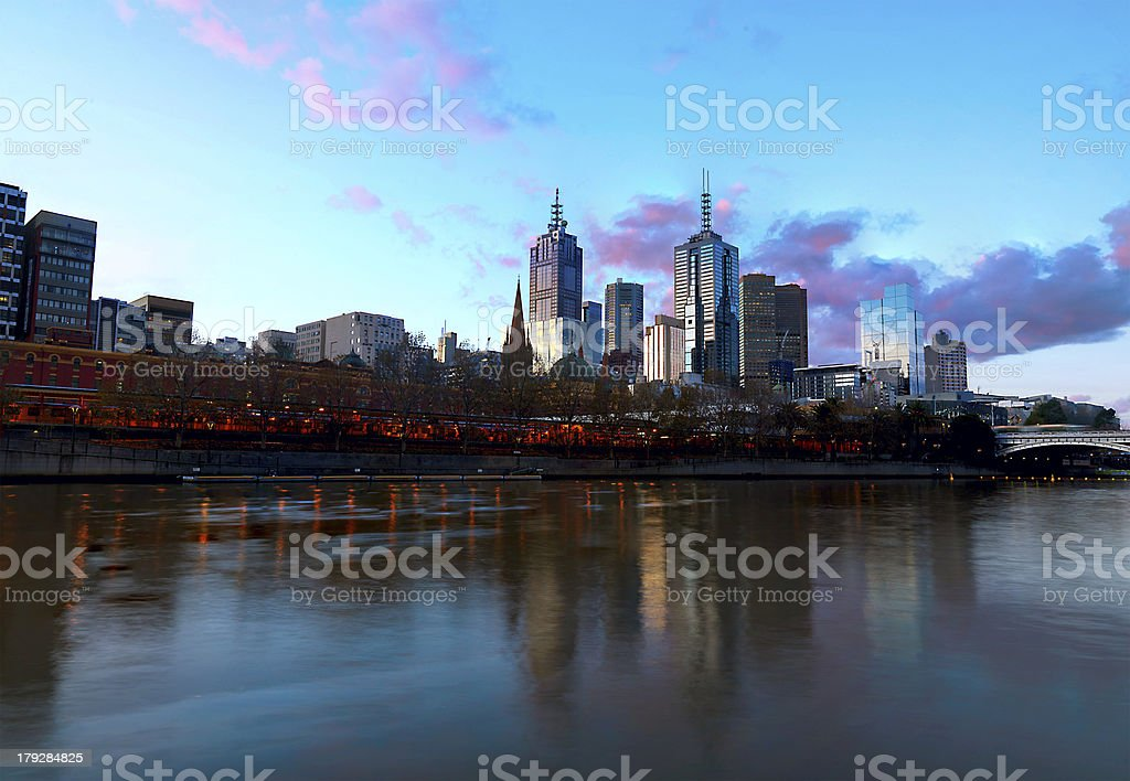 The skyline of Melbourne sunset royalty-free stock photo
