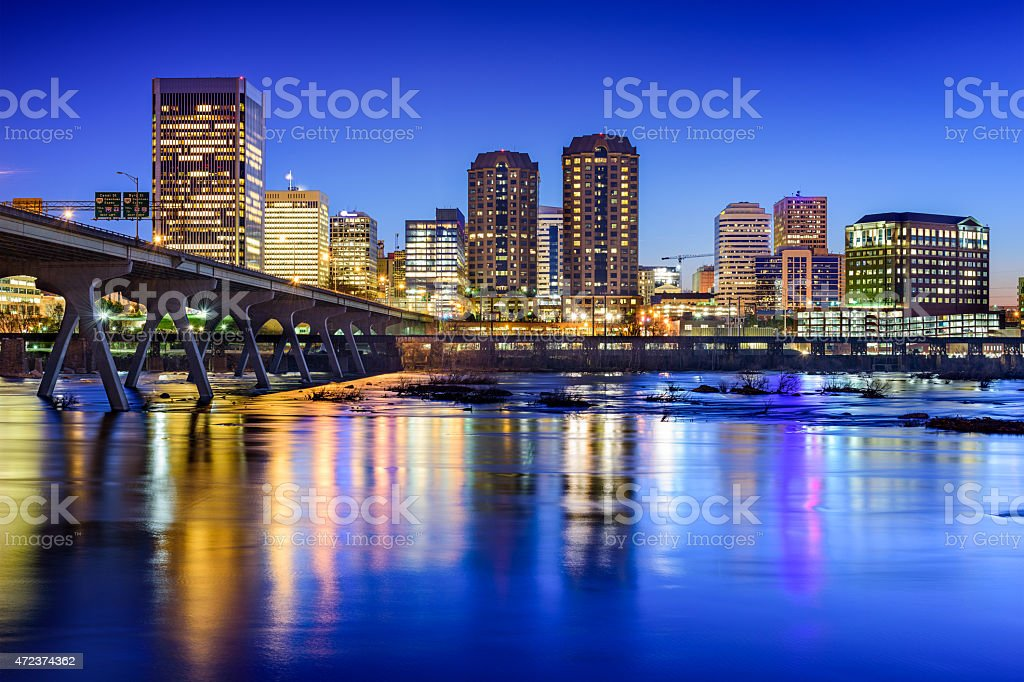 The skyline of Richmond, Virginia at dusk stock photo