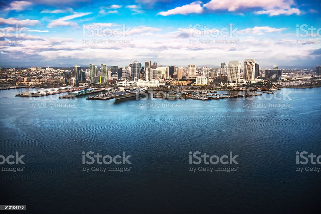 The Skyline of San Diego California From Above the Bay stock photo