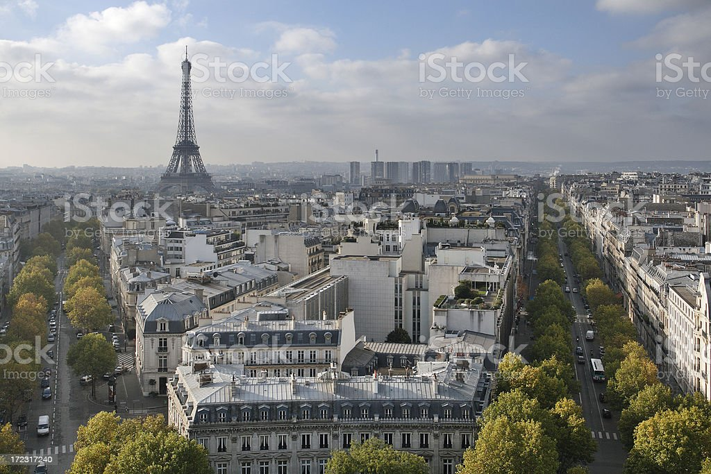 The skyline that is located in Paris, France royalty-free stock photo