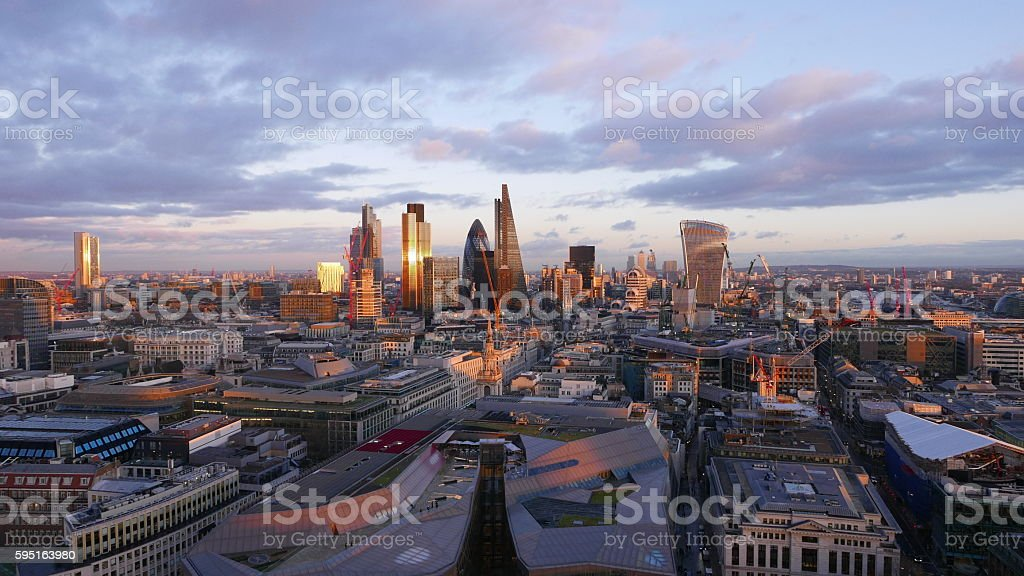 The skyscrapers of the City  London aerial view at sunset Lizenzfreies stock-foto