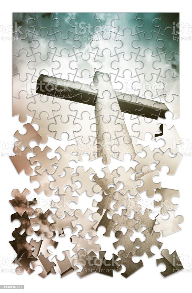The slow construction of faith. Concept image stock photo