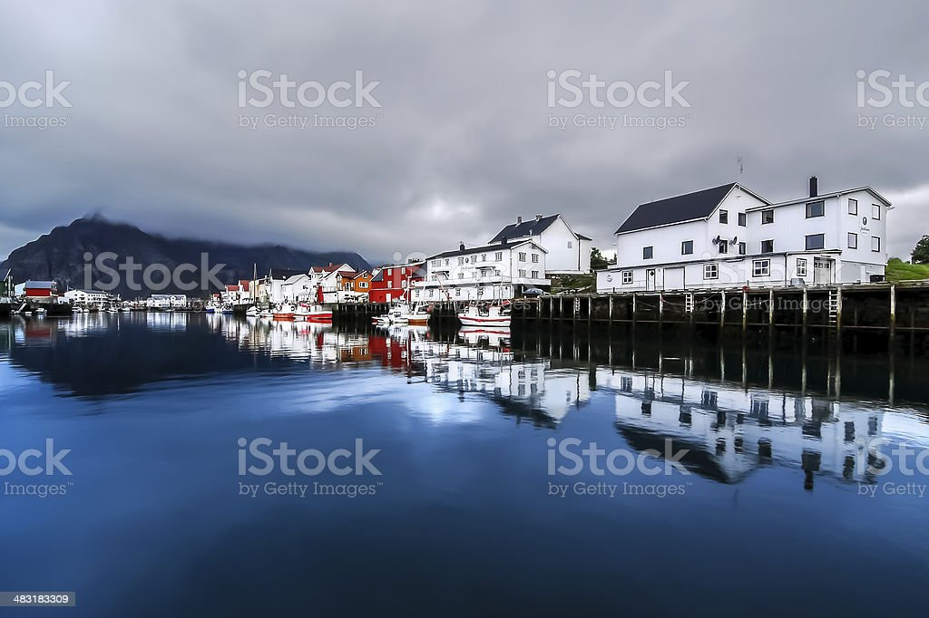 The small fishing village of Henningsvaer, archipelago of Lofoten, Norway. royalty-free stock photo