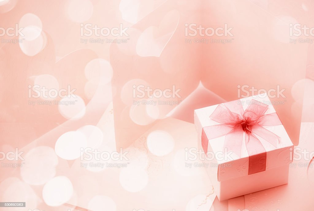 The Small gift box on around of bogey pink tone stock photo