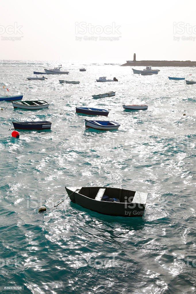 The small harbor of Arrecife, Lanzarote, Spain stock photo