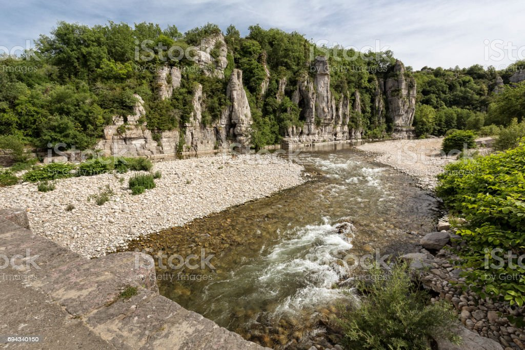 The small river Beaume in the Ardeche district in Southern France stock photo