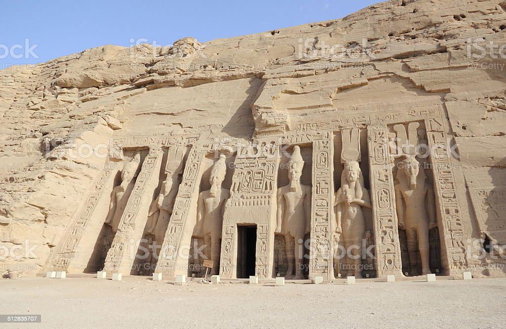 The Small Temple of Nefertari. Abu Simbel, Egypt. stock photo