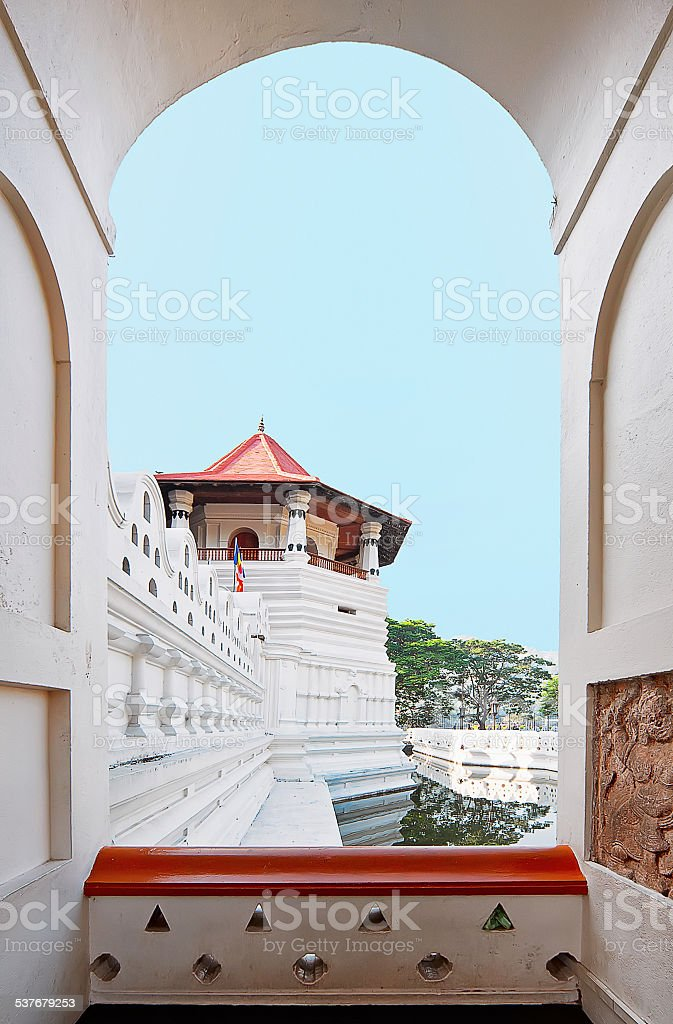The small tower seen from the arch in Temple of the Tooth stock photo