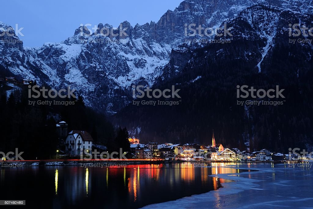 DOLOMITES - The small town of Alleghe stock photo