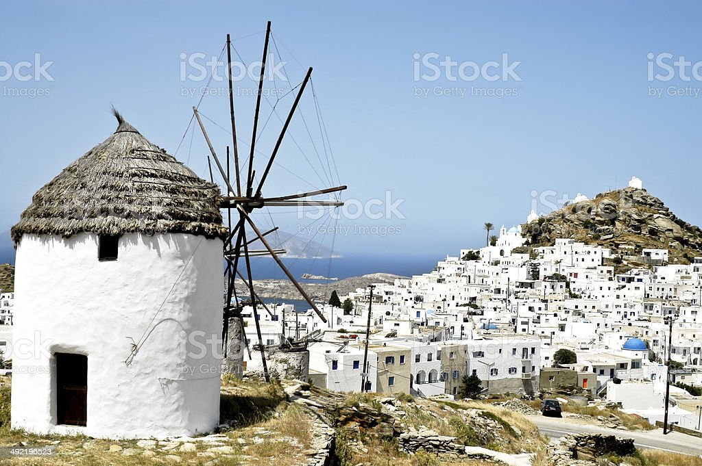 The small town of Chora, Ios island, Cyclades, stock photo
