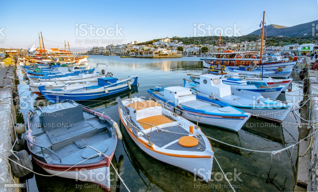 The small traditional harbor of Elounda at sunset, Crete, Greece on March 16, 2017 stock photo