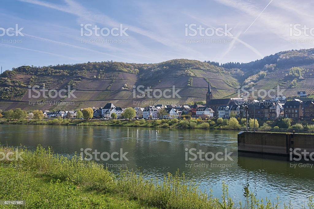 The small village along the Mosel River stock photo