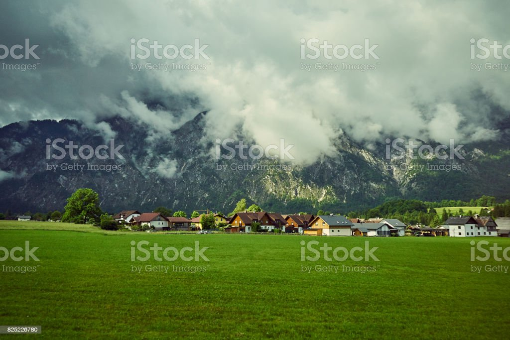 The small village in the Valley of Austrian's ALP stock photo