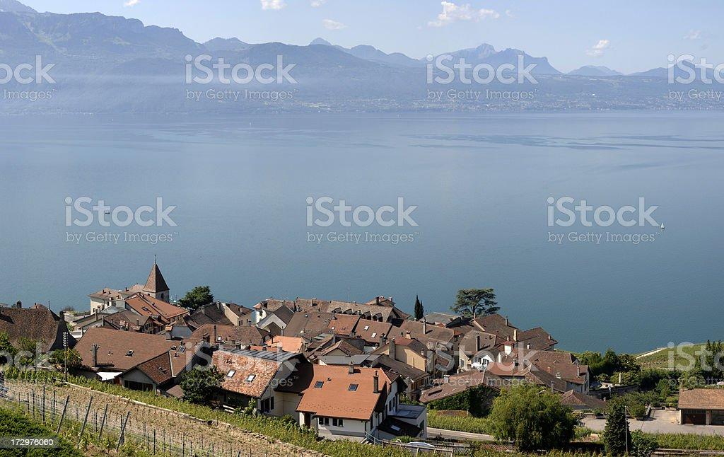 The small village of St-Saphorin stock photo