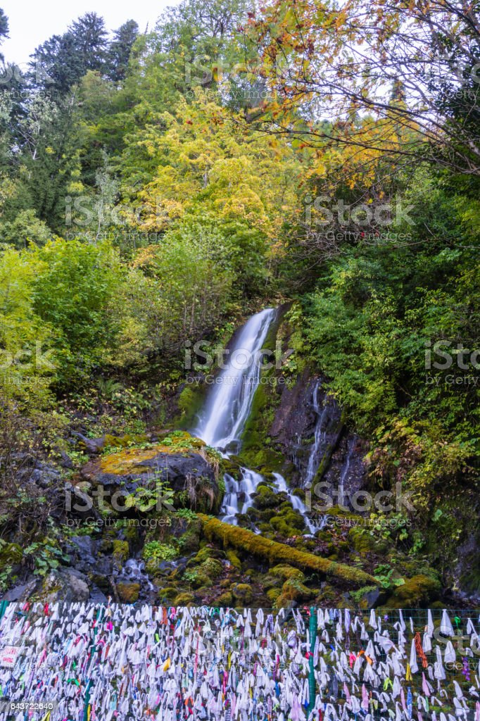 The small waterfall in the mountains of Abkhazia. stock photo