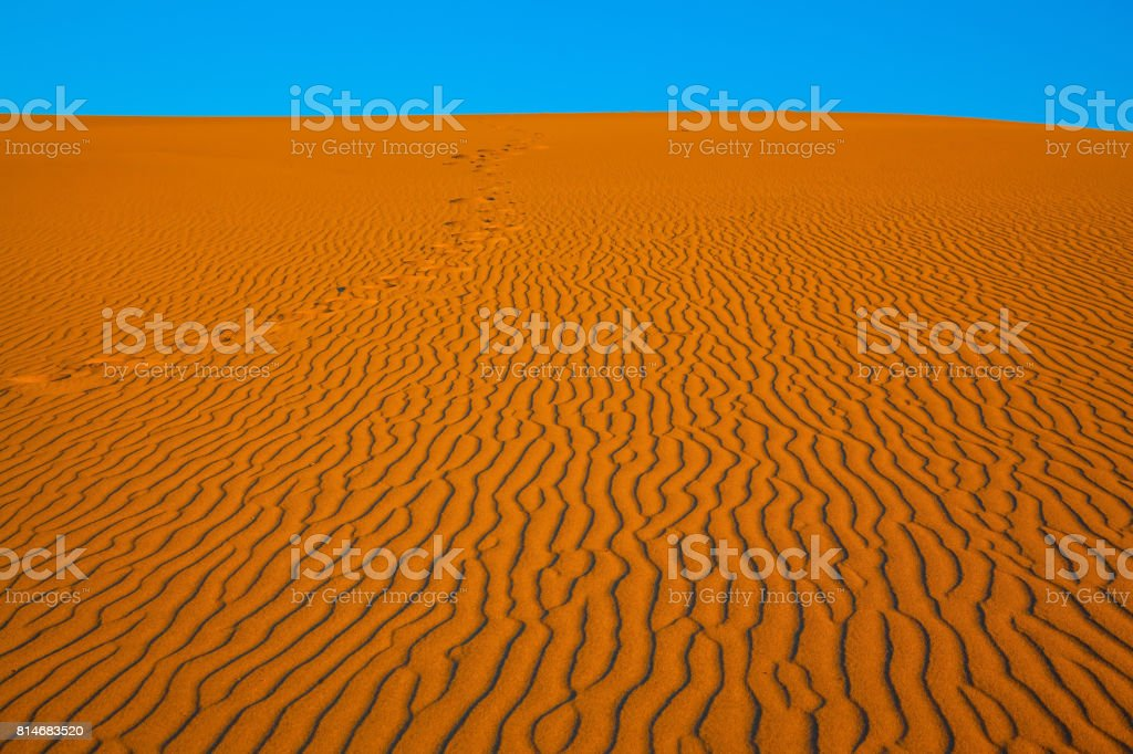 The small waves of orange sand stock photo