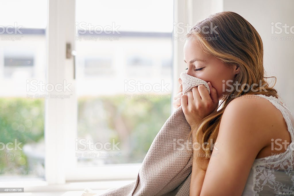The smell of fresh towels stock photo