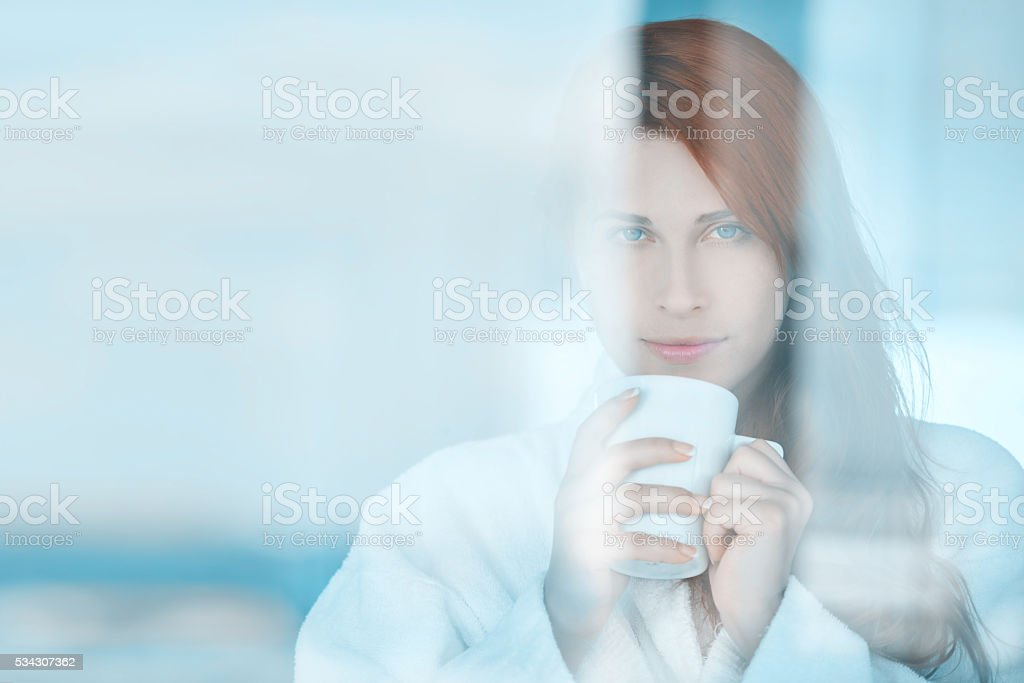 the smell of morning coffee stock photo