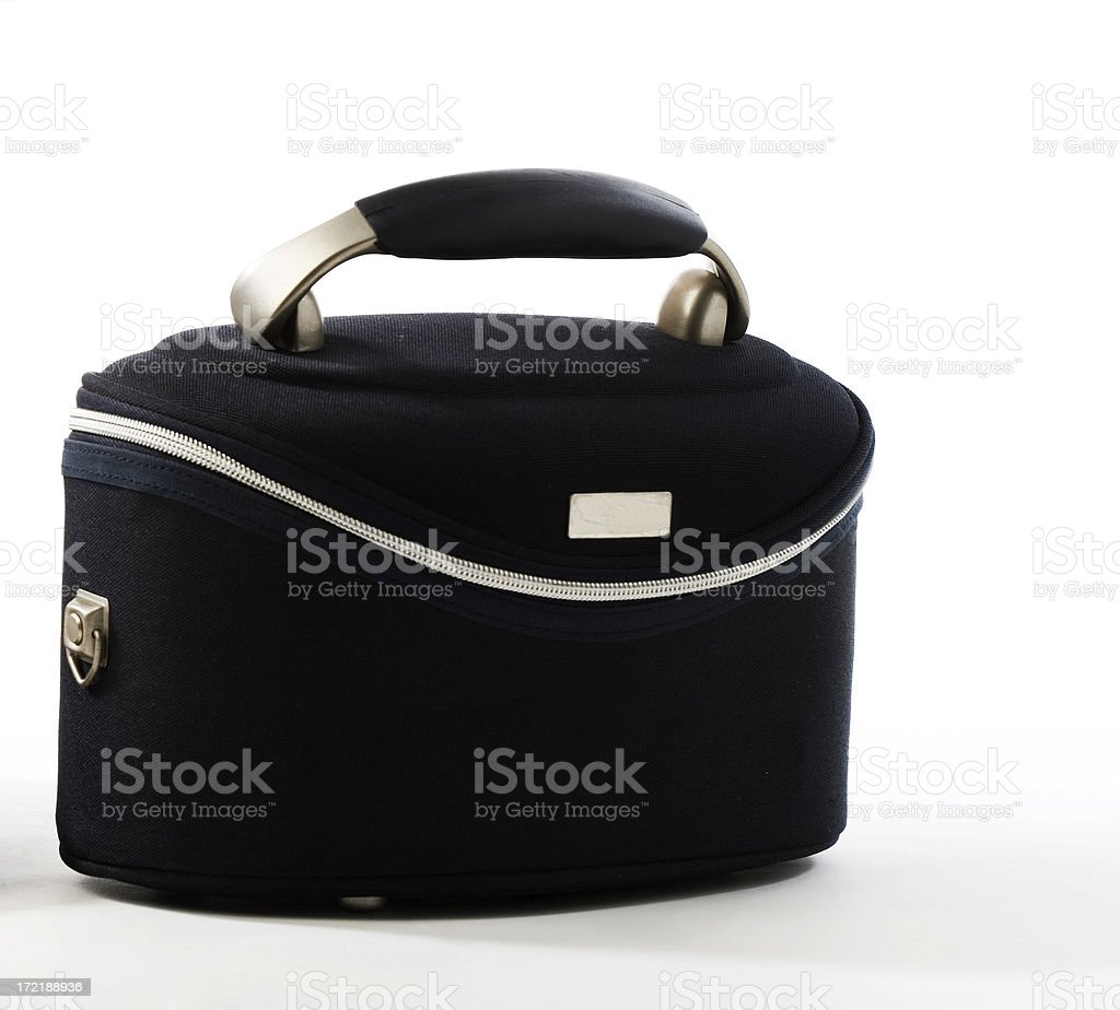 The smiling blue suitcase stock photo