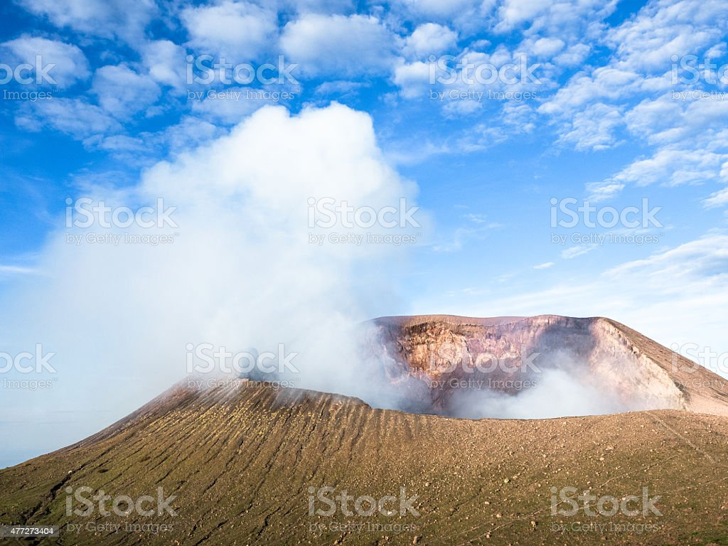 The smoking crater of Telica, a volcano in northwestern Nicaragua. stock photo