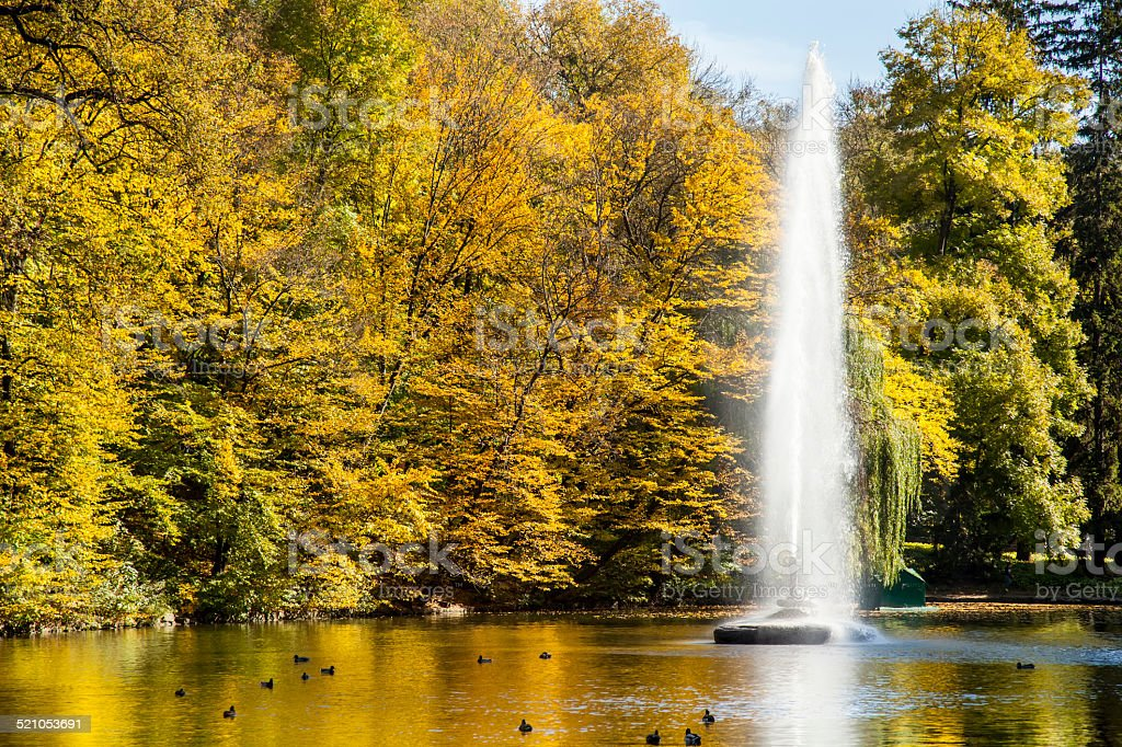 The Snake fountain in Sofiyivsky Park in autumn stock photo