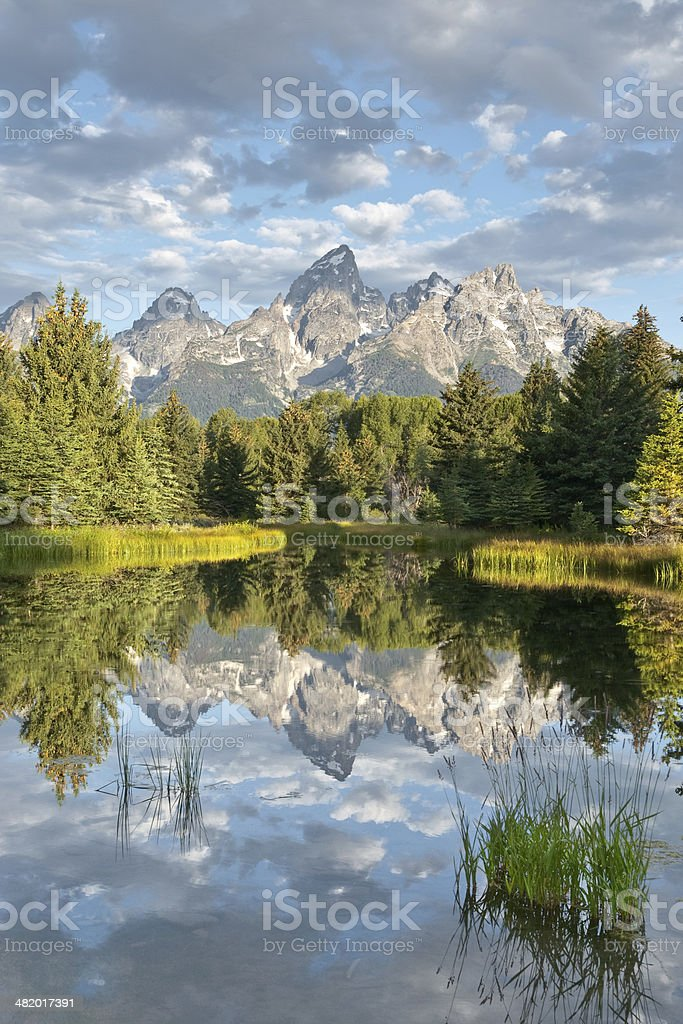 Teton Range Reflected in the Snake River royalty-free stock photo