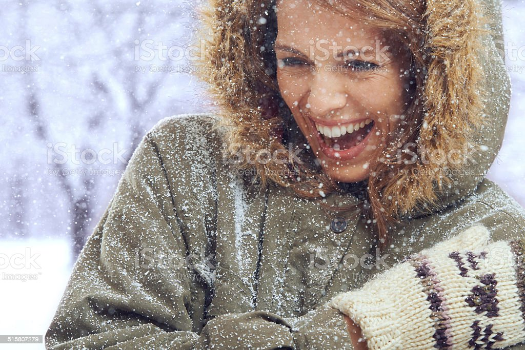The snow is her ultimate playmate stock photo