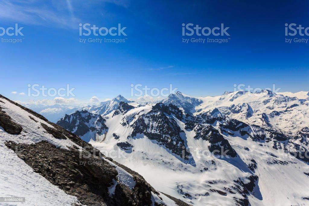The snow mountain range mountain range from the Titlis is a mountain. stock photo