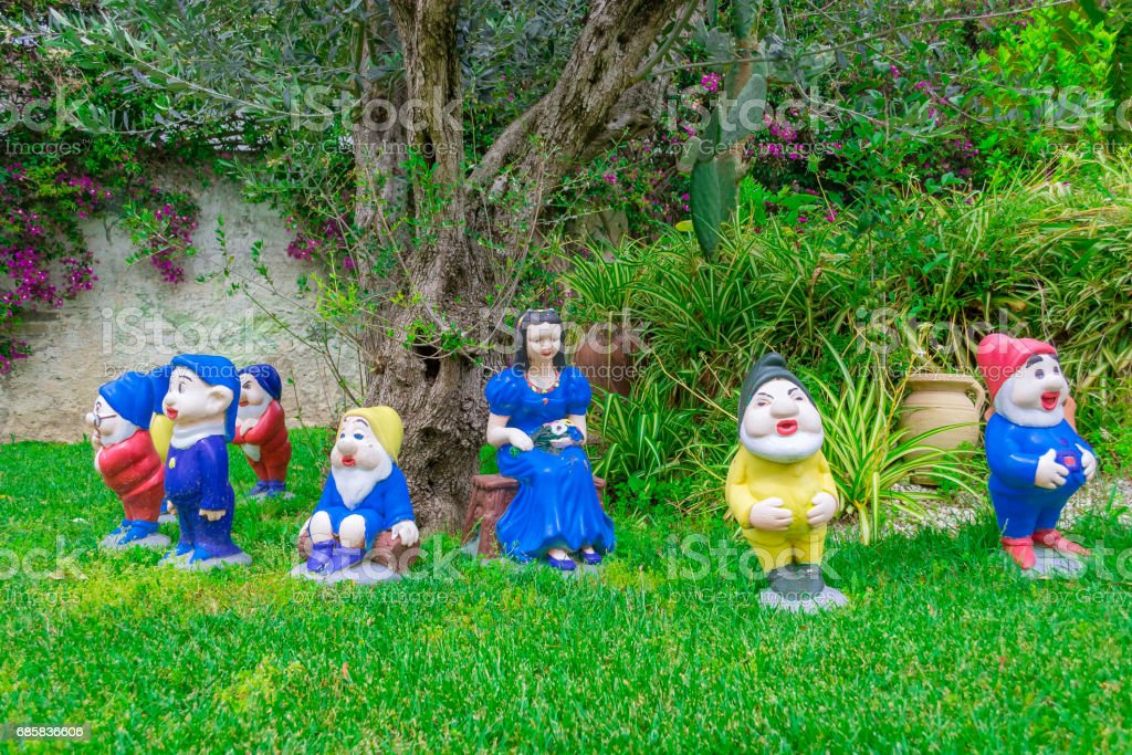 The Snow White statues and the seven dwarfs stock photo