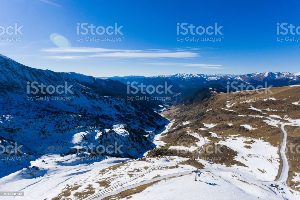 The snow-capped mountains stock photo