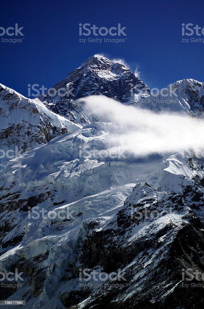 The snow-capped peak of Mount Everest stock photo