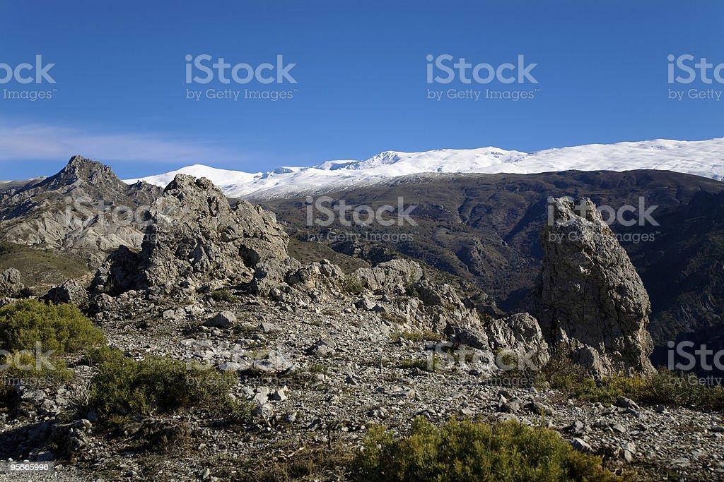 The snowcapped Sierra Nevada in Andalusia, Spain royalty-free stock photo