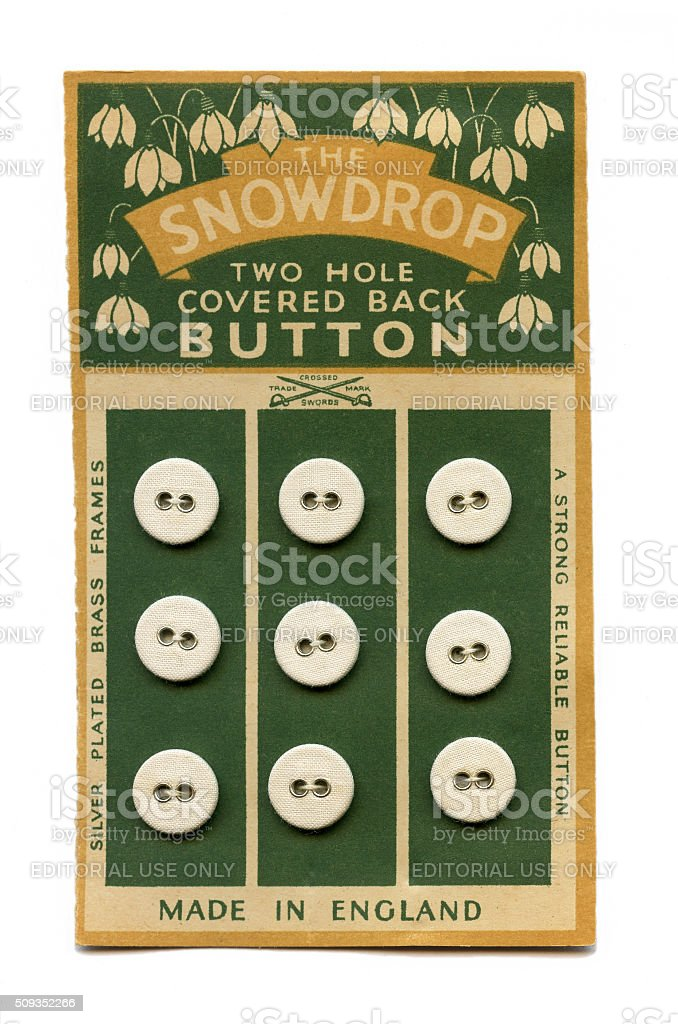 The Snowdrop linen button card stock photo