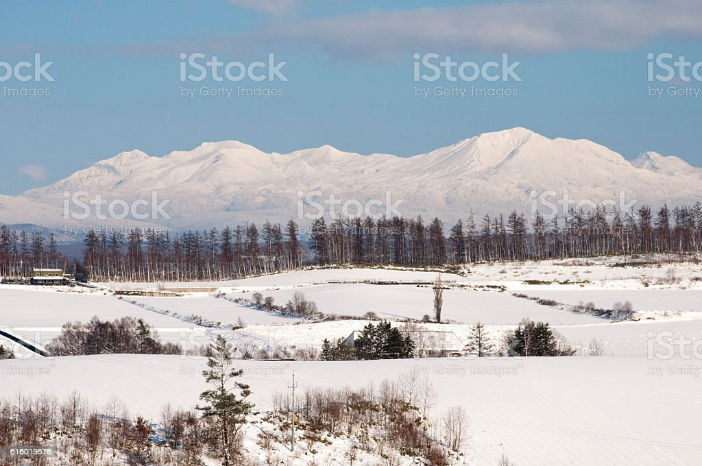 The snowy mountains of the early winter stock photo