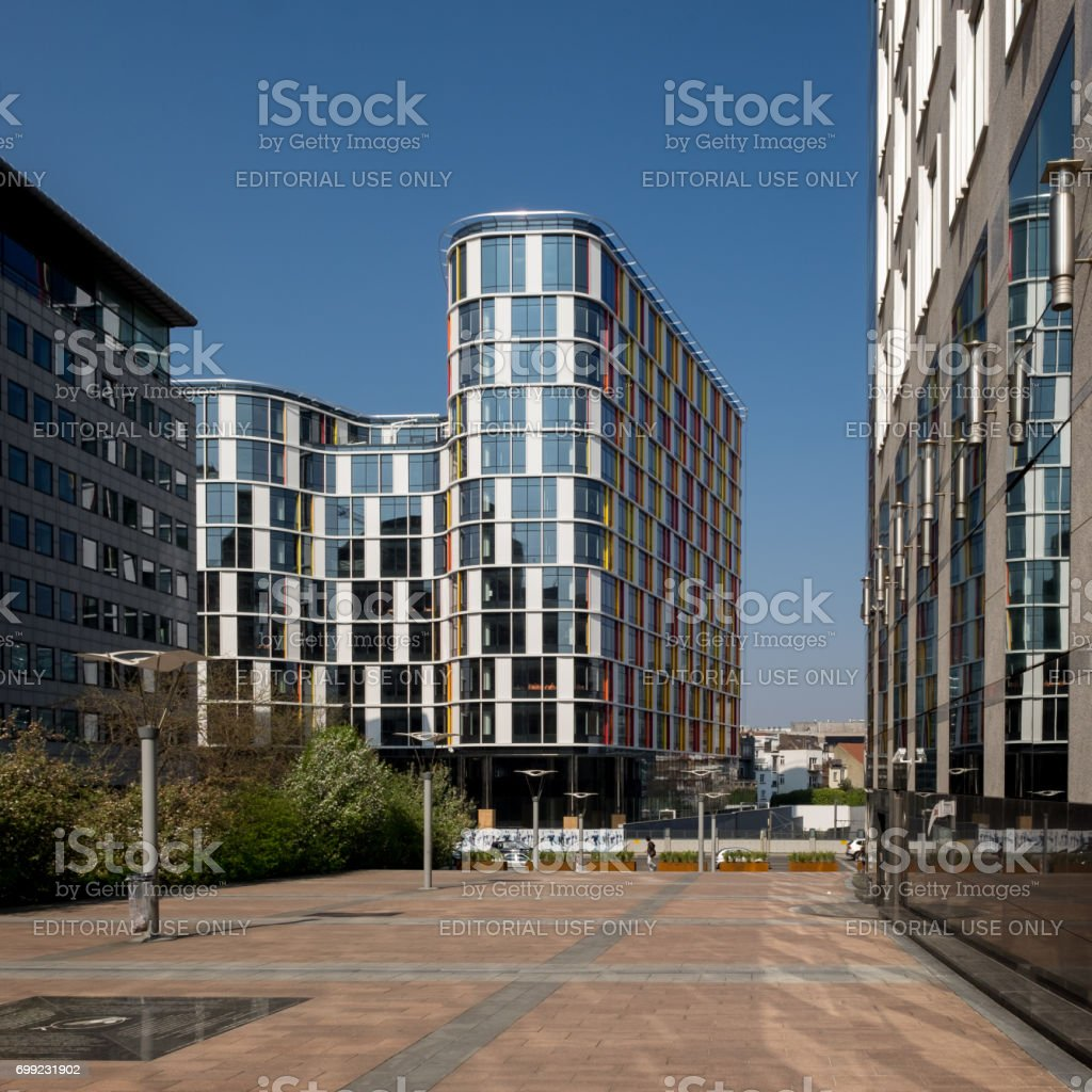 The so-called Wilfried Martens building of the European Parliament. stock photo